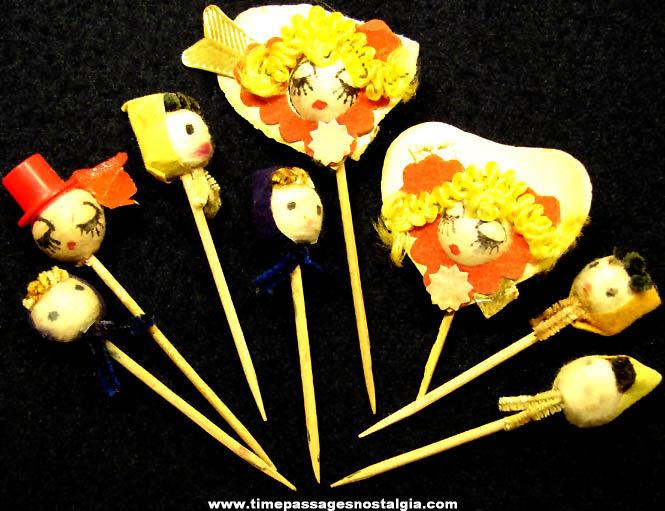 (8) Old Miniature Novelty Doll Head Food or Cake Decoration Picks