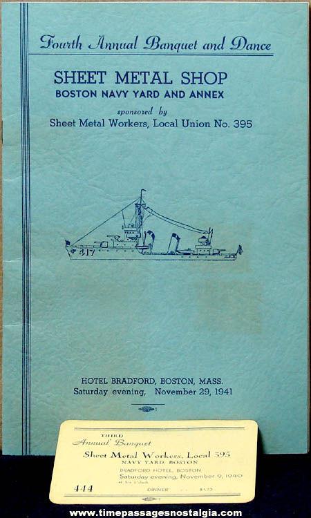 1940 - 1941 Boston Navy Yard Annual Banquet & Dance Souvenir Program Book & Ticket