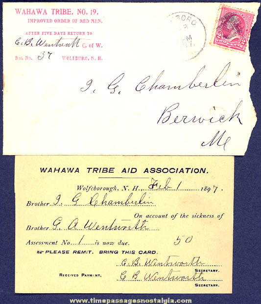 (2) 1897 New Hampshire Improved Order of Red Men Fraternal Organization Items