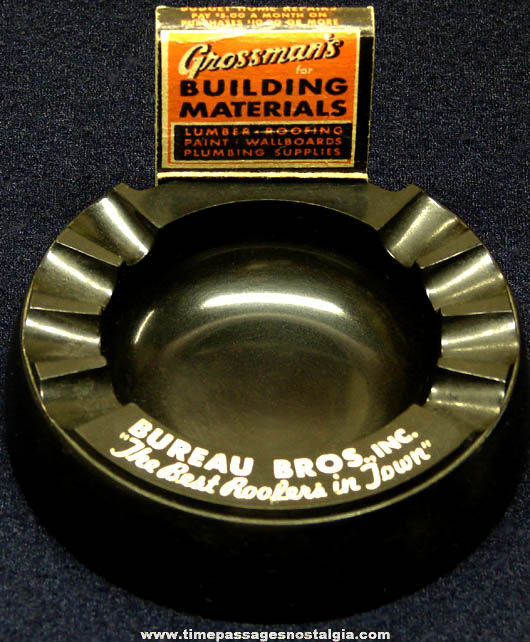 Old Black Bakelite Roofing Company Advertising Premium Cigarette Ashtray with Bonuses
