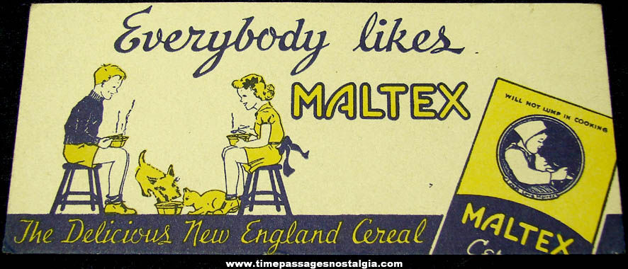 Old Unused Maltex Cereal Advertising Premium Ink Pen Blotter Card