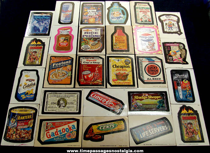 (26) Older & Newer Topps Wacky Packages Parody Advertising Sticker Trading Cards