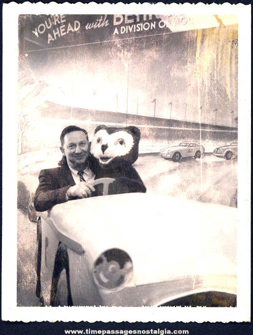 Old Auto Racing & Bear Character Novelty Souvenir Polaroid Photograph