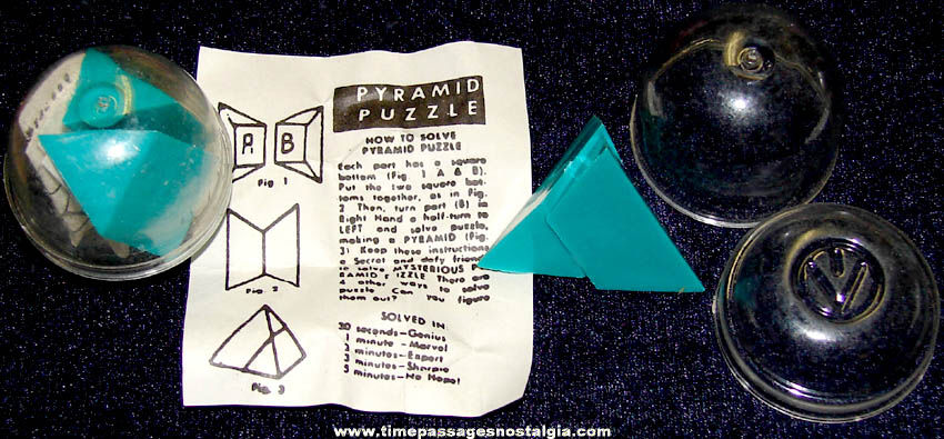 (2) Old Gum Ball Machine Prize Pyramid Puzzles with Instructions