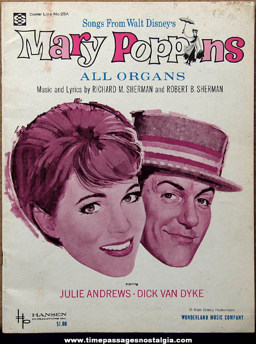 ©1964 Walt Disney Mary Poppins Movie Song Booklet