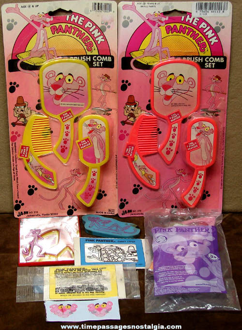 (9) Colorful Old Pink Panther Cartoon Character Items
