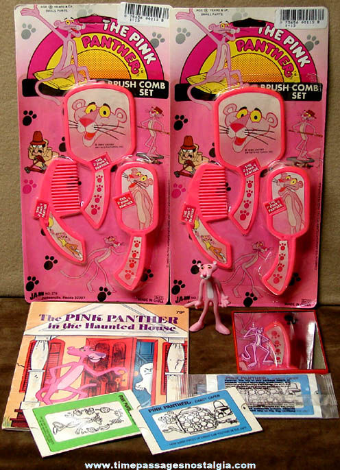 (8) Colorful Old Pink Panther Cartoon Character Items