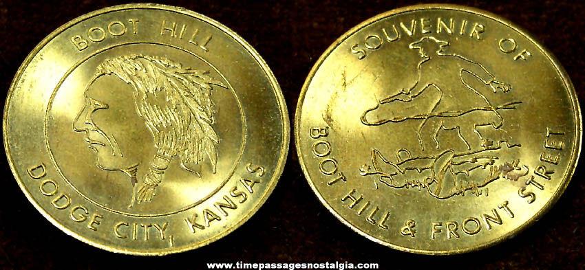 Brass Boot Hill & Front Street Dodge City Kansas Advertising Souvenir Token Coin