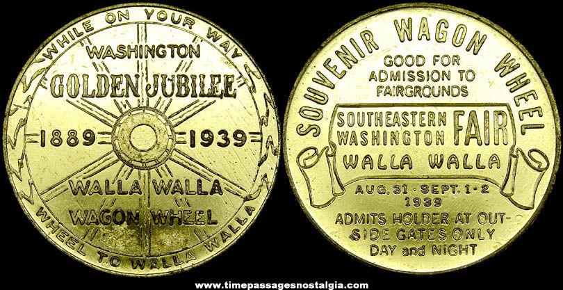 1939 Washington State Golden Jubilee Advertising Souvenir Coin