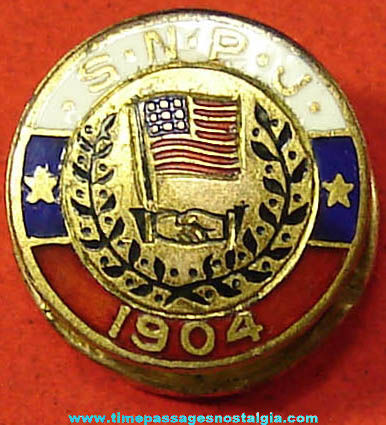 Old Enameled Slovene National Benefit Society Advertising Lapel Stud Button