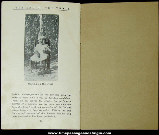 Old Native American Indian End of The Trail Christian Missionary History Booklet