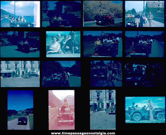 (16) 1947 European United States Army Jeep Color Photograph Slides with People