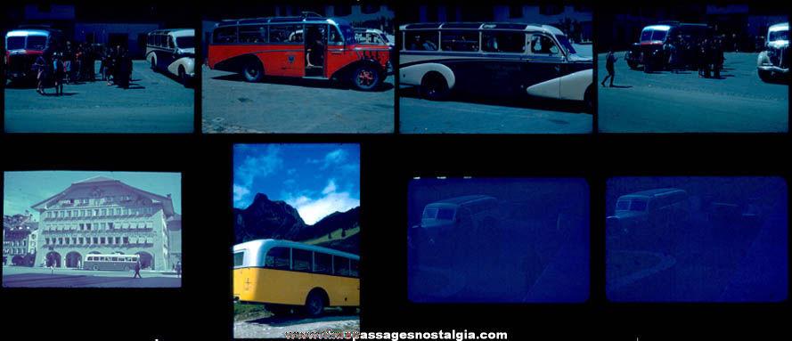 (8) 1947 France or Switzerland Bus Color Photograph Slides