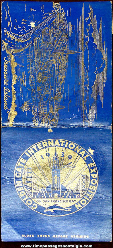 Unused 1939 Golden Gate International Exposition Advertising Over Sized Match Book With Printed Matches