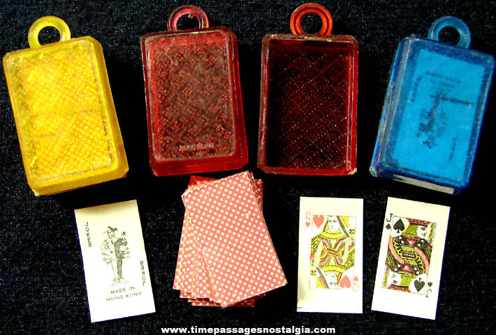 (3) Old Unused Gum Ball Machine Prize Miniature Playing Card Decks with Charm Cases