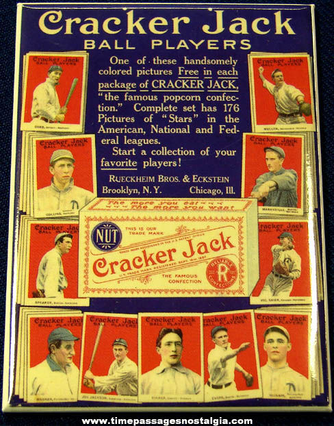 Colorful 1915 Cracker Jack Baseball Card Sign Advertising Premium Magnet
