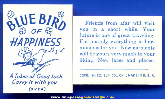 (50) ©1943 Blue Bird of Happiness Exhibit Supply Arcade Fortune Cards