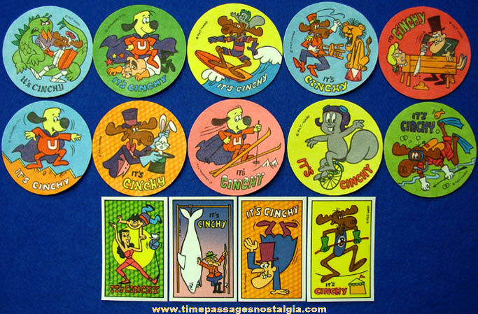 (14) Old Unused Bullwinkle & Underdog Cartoon Advertising Premium Iron On Patches