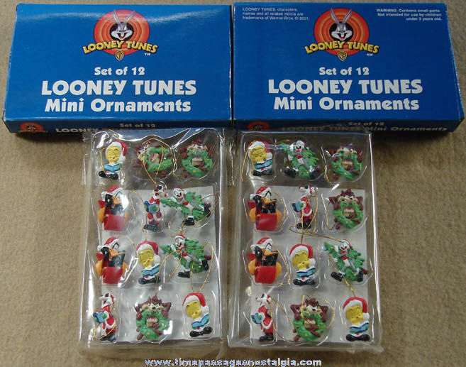 (24) Boxed & Unused Warner Bros. Looney Tunes Cartoon Character Miniature Christmas Ornaments