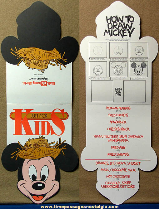 (3) Different Old Unused Walt Disney World Children's Advertising Premium Food Menus