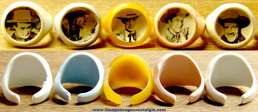 (5) Different 1950s Cowboy Movie Star Gum Ball Machine Prize Real Photo Toy Rings