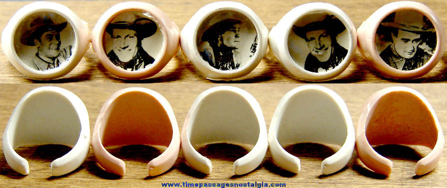 (5) 1950s Cowboy Movie Star Gum Ball Machine Prize Real Photo Toy Rings