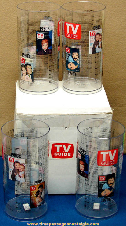 Colorful Set of (4) Unused TV Guide Advertising Premium Drink Cups with Their Mailer Box