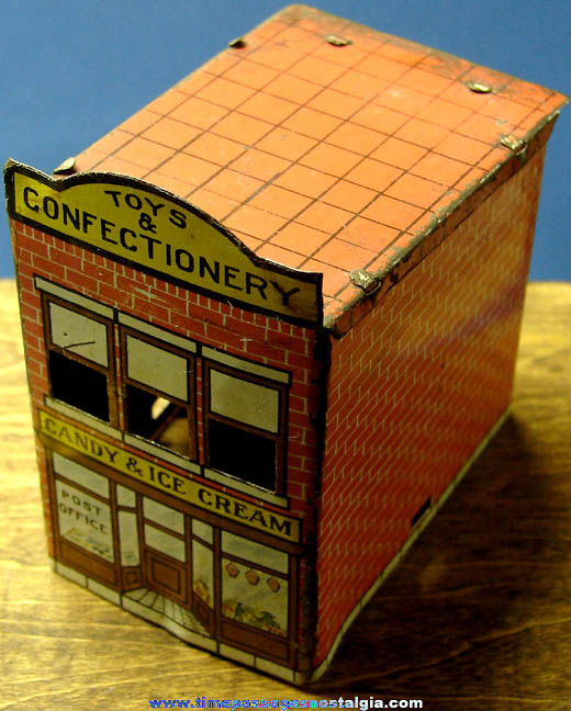Old Miniature Lithographed Tin Toy & Confectionery Store Building Candy Container Toy