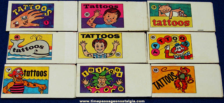 Unusual Set of (9) Old Cracker Jack Series #1366 Tattoo Book Toy Prizes