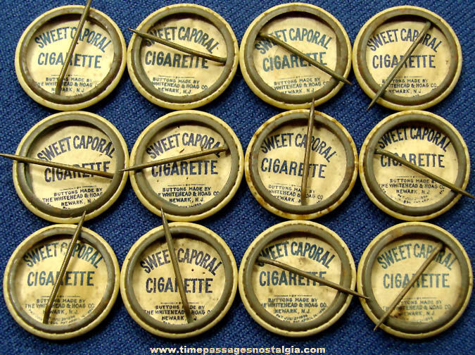 (12) 1896 Sweet Caporal Cigarettes Advertising Premium Country Flag Celluloid Pin Back Buttons
