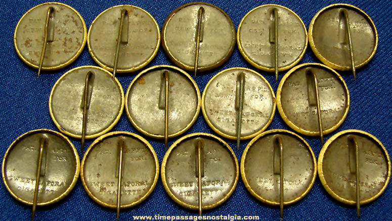 (13) 1896 Sweet Caporal Cigarettes Advertising Premium Country Flag Celluloid Pin Back Buttons