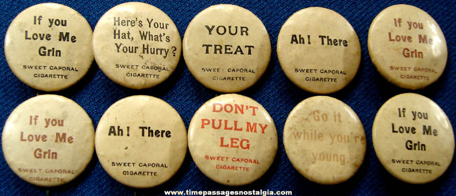 (10) 1896 Sweet Caporal Cigarette Premium Celluloid Pin Back Buttons With Sayings