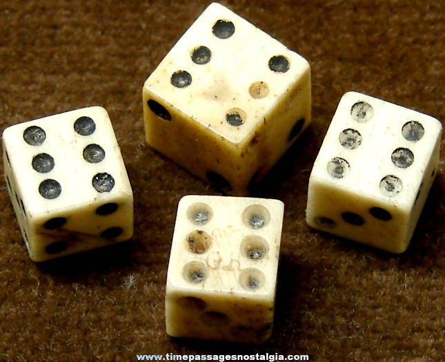(4) 18th or 19th Century Miniature Bone or Ivory Dice (One has tax marks)