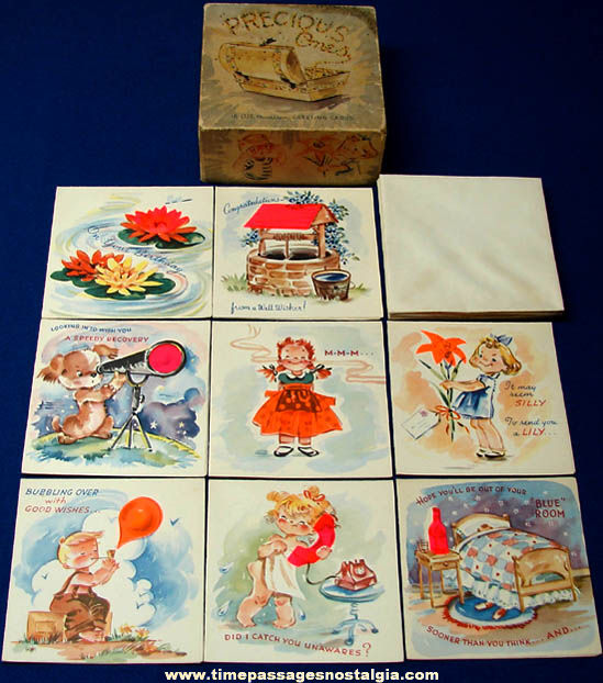 (8) Boxed Colorful Old Unused Greeting Cards With Envelopes