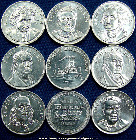 (9) ©1968 Shell Gasoline & Oil Advertising Premium Famous Facts & Faces Game Token Coins