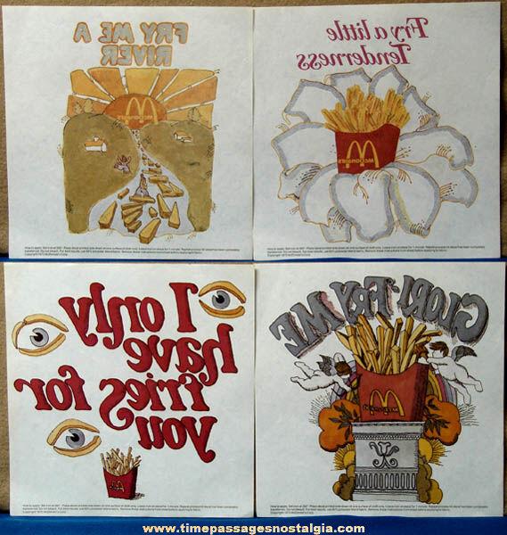 (4) Unused ©1975 McDonald's Restaurant Advertising Premium Iron On Transfers
