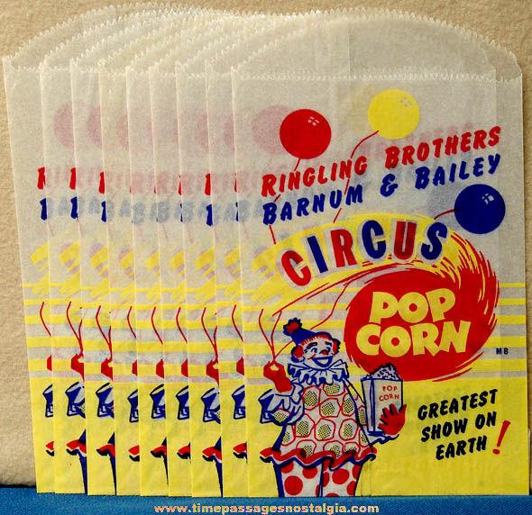 (9) Old Unused Ringling Brothers Barnum & Bailey Circus Pop Corn Advertising Paper Bags