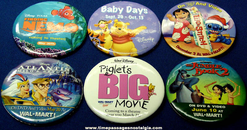 (6) Different Walt Disney Movie Advertising Pin Back Buttons