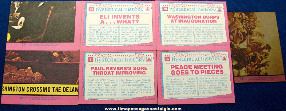 (7) Different ©1975 Topps Chewing Gum Hysterical History Trading Cards