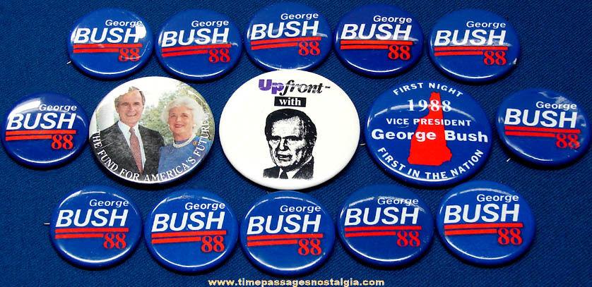 (15) 1988 George Herbert Walker Bush Political Campaign Pin Back Buttons