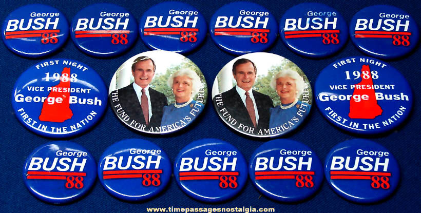(15) 1988 George Herbert Walker Bush Political Campaign Pin Back Buttons