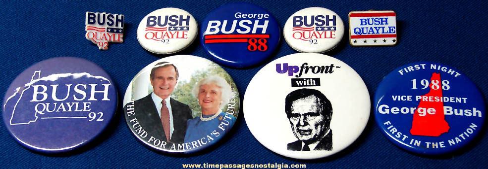 (9) 1988 & 1992 George Herbert Walker Bush & Dan Quayle Political Campaign Pin Back Buttons