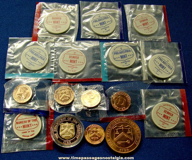 (16) Old United States Treasury Mint Set & Proof Set Token Coins