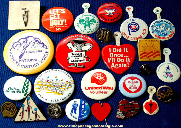 (25) Small Charity or Organization Advertising Pins Pin Back Buttons & More