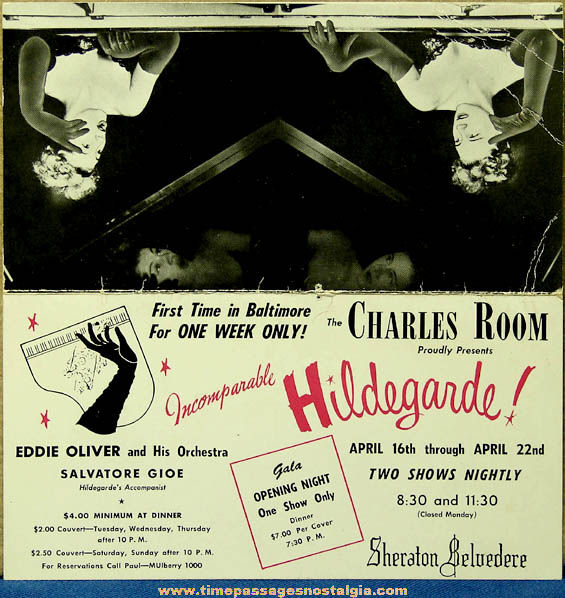 Old Incomparable Hildegarde Charles Room Sheraton Belvedere Advertising Table Tent