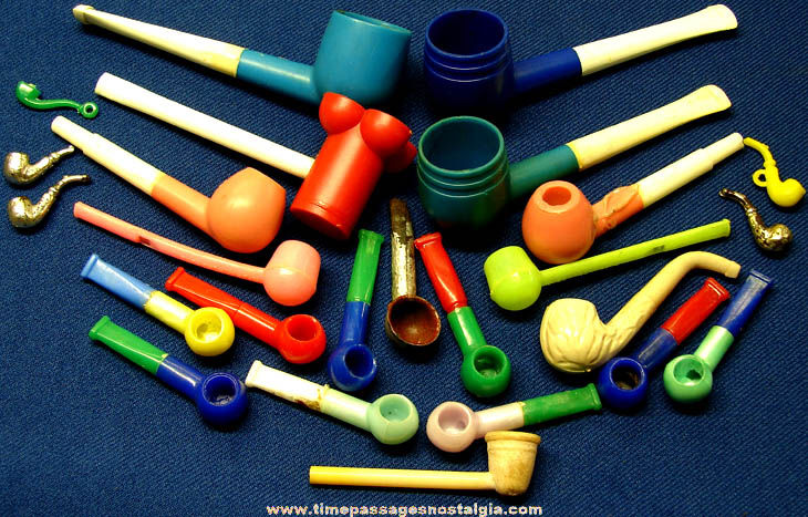 (25) Old Small or Miniature Plastic Toy Smoking or Bubble Pipes