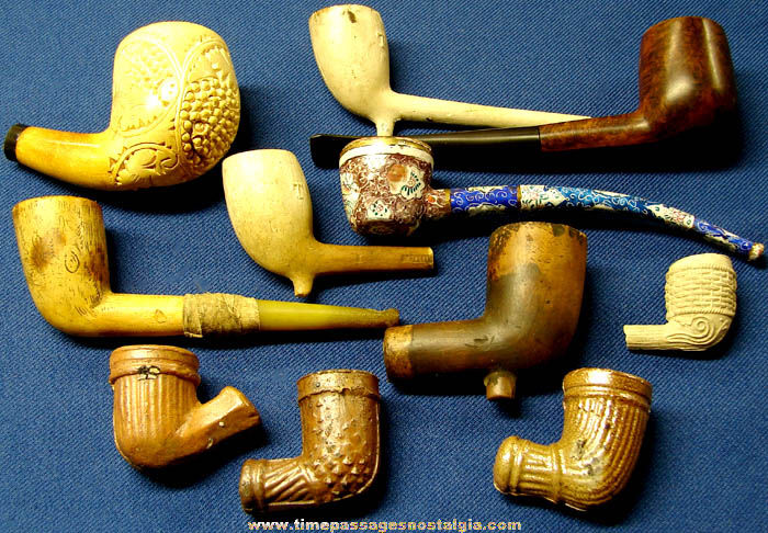 (11) Different Old Tobacco Smoking Pipes and Parts