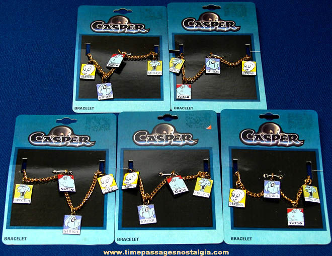 (5) Unused & Carded ©1995 Casper The Friendly Ghost Character Jewelry Charm Bracelets