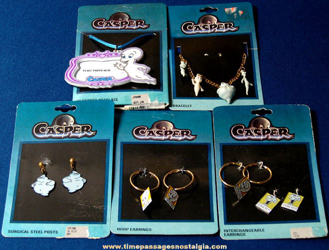 (5) Unused & Carded ©1995 Casper The Friendly Ghost Character Jewelry Items