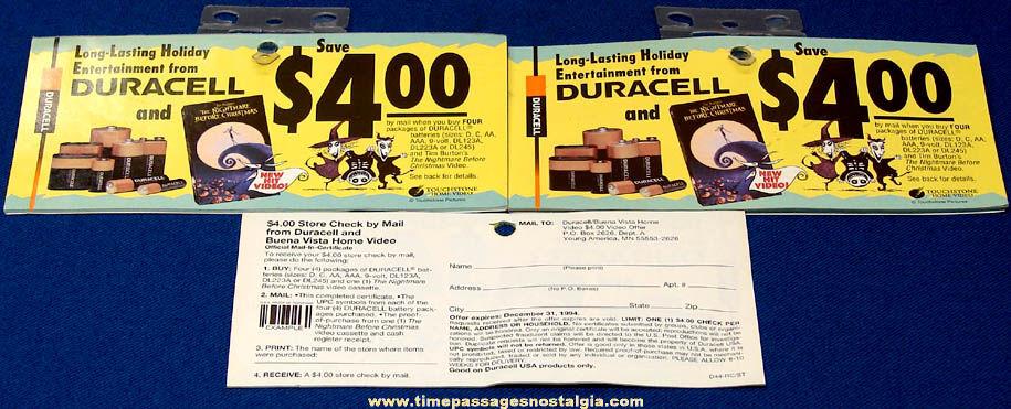(46) Unused 1994 Nightmare Before Christmas Movie & Duracell Batteries Rebate Forms